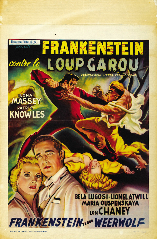 Frankenstein Meets The Wolfman Belgian Post-War 15.5 X 23.5 Poster