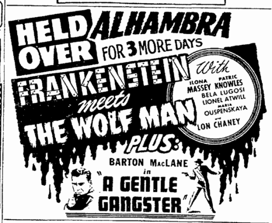 Frankenstein Meets The Wolfman, Cleveland Plain Dealer, June 11, 1943