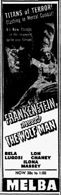 Frankenstein Meets The Wolfman, Dallas Morning News, July 2, 1943, 2