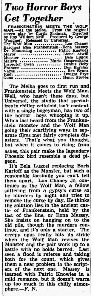 Frankenstein Meets The Wolfman, Dallas Morning News , July 2, 1943