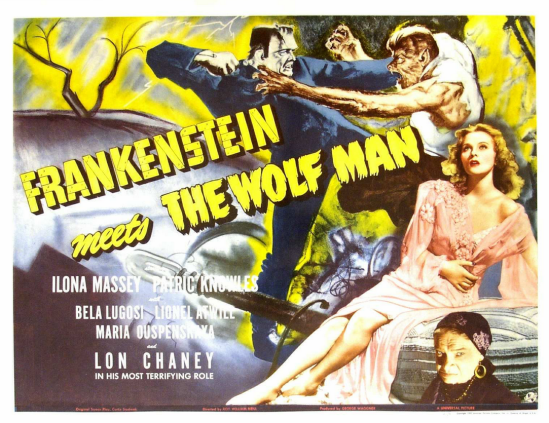 Frankenstein Meets The Wolfman Half Sheet