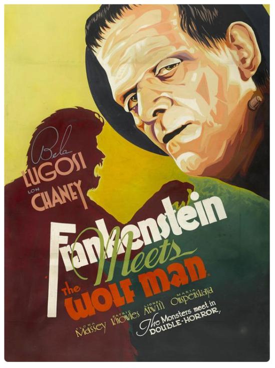 Frankenstein Meets The Wolfman Handpainted Lobby Art