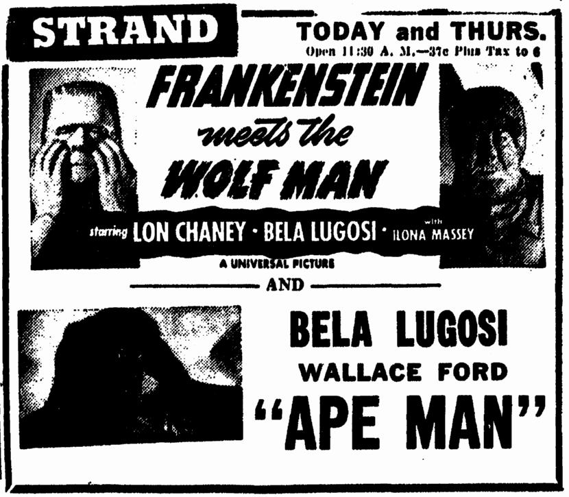 Frankenstein Meets The Wolfman, Illinois State Journal, December 21, 1949