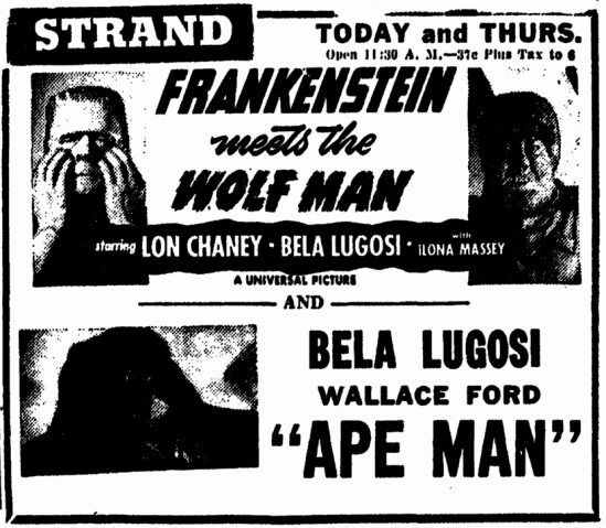 Frankenstein Meets The Wolfman, Illinois State Journal, December 21, 1949