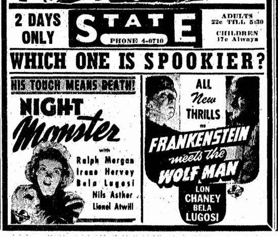 Frankenstein Meets The Wolfman, Night Monster, The Canton Repository, October 31, 1944