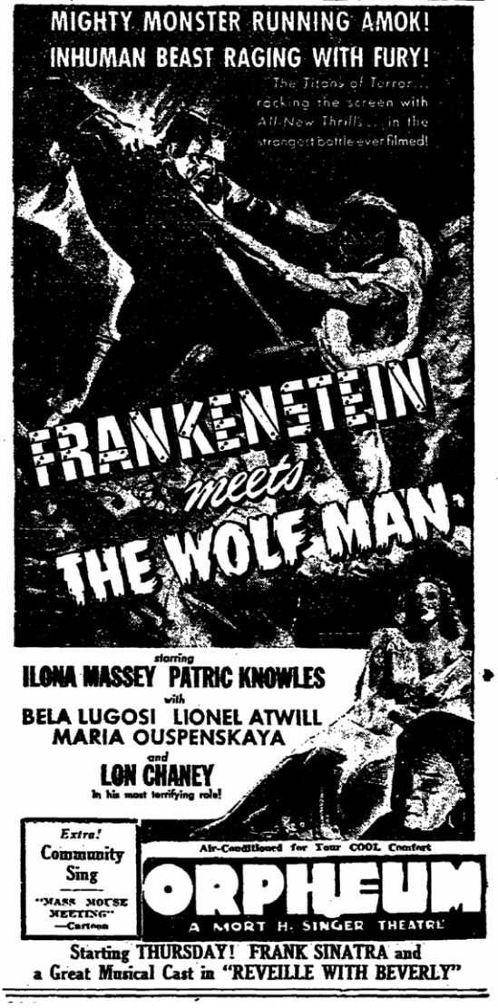 Frankenstein Meets The Wolfman, The Times-Picayune, June 20, 1943