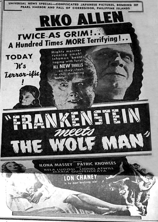Frankenstein Meets The Wolfman Unknown Newspaper