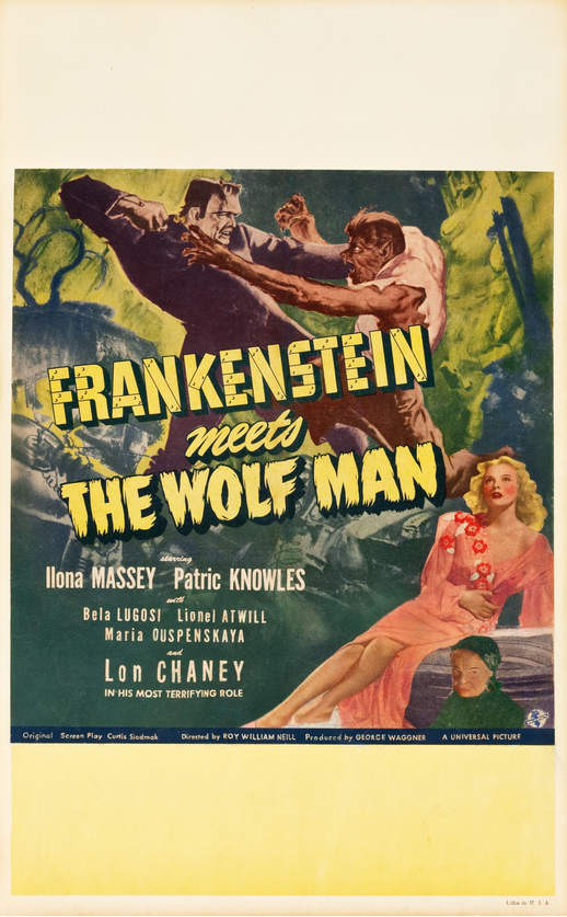 Frankenstein Meets The Wolfman Window Card