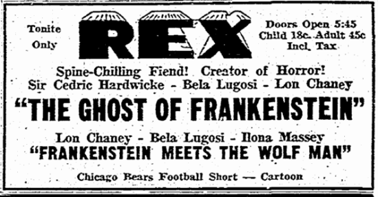 Ghost of Frankenstein, Rockford Morning Start, November 28, 1951
