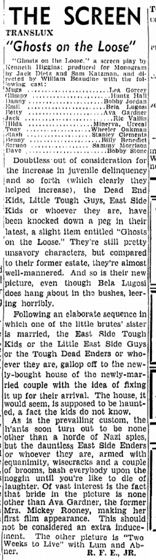 Ghosts on the Looose, Boston Herald, June 17, 1943
