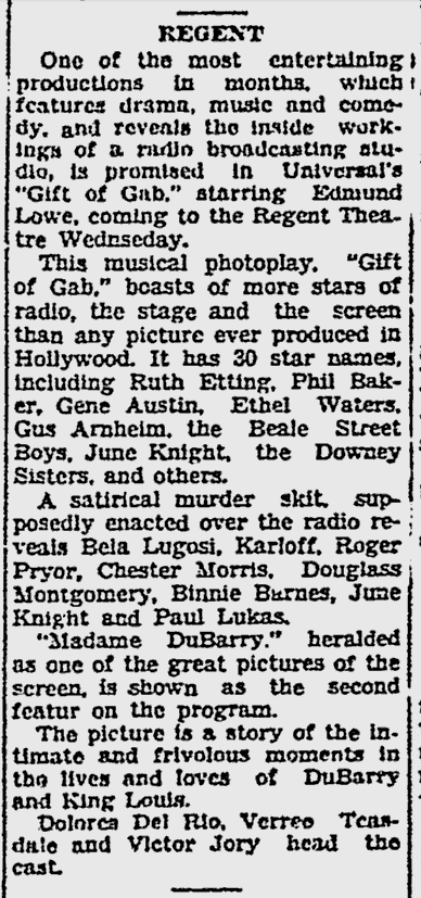 Gift of Gab, The Norfolk Hour, January 29, 1935
