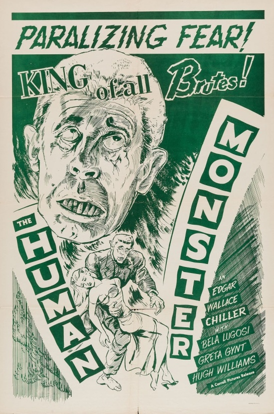 Human Monster 1950s Re-release One Sheet