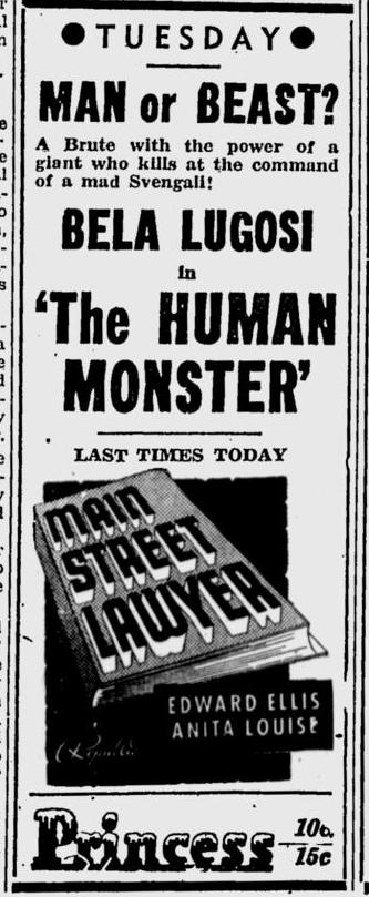 Human Monster, Kentucky New Era, September 3, 1940