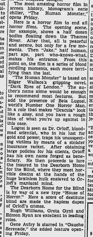 Human Monster, The Daily Times, June 13, 1940