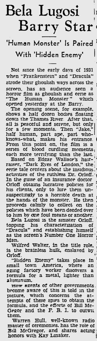 Human Monster, The Pitsburgh Press, March 28, 1940