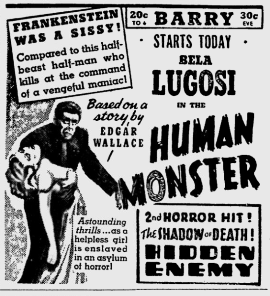 Human Monster,The Pitsburgh Press, March 27, 1940