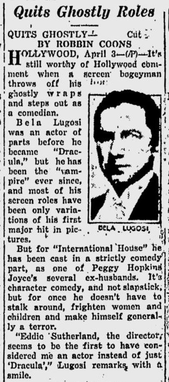International House, Prescott Evening Courier, April 3, 1933