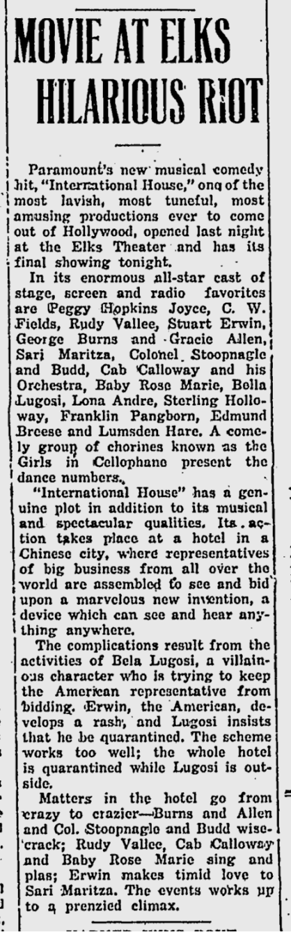 International House, Prescott Evening Courier, July 5, 1933