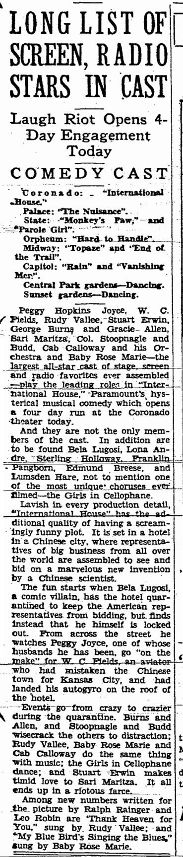 International House, Rockford Morning Star, July, 9, 1933