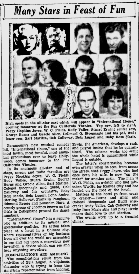 International House, San Jose Evening News, June 16, 1933 a