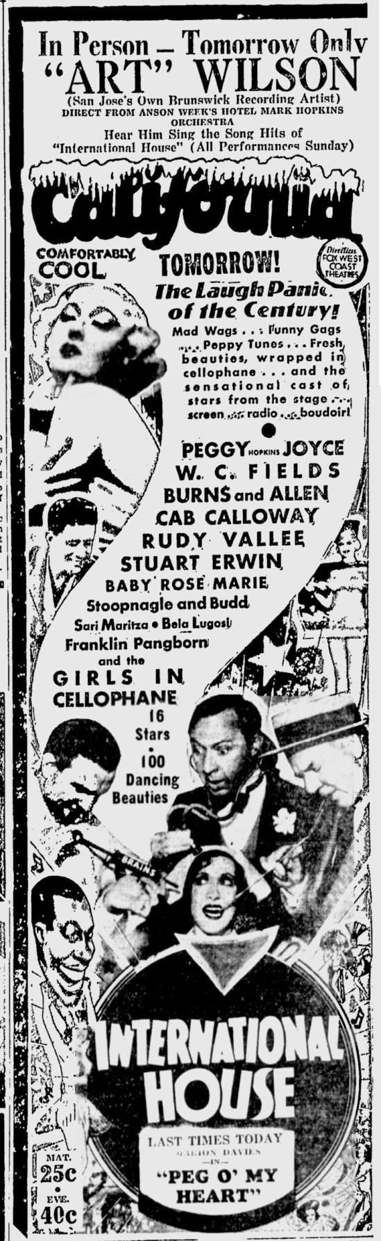 International House, San Jose Evening News, June 16, 1933 b