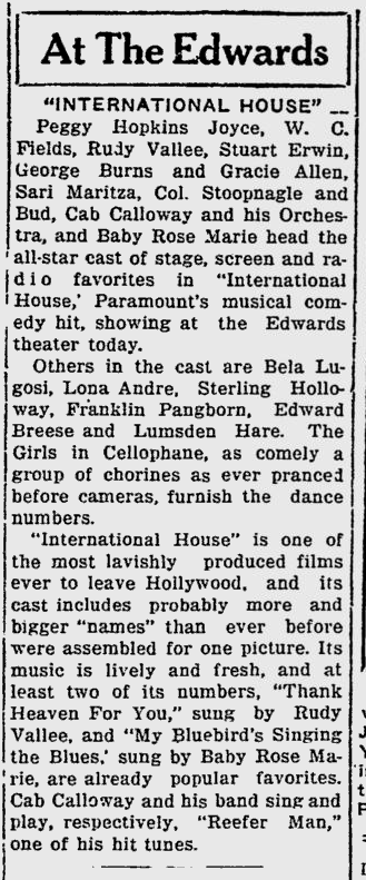 International House, Sarasota Herald-Tribune, August 6, 1933