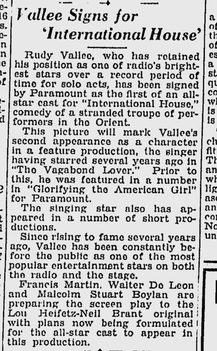 International House, Schenectady Gazette, December 28, 1932