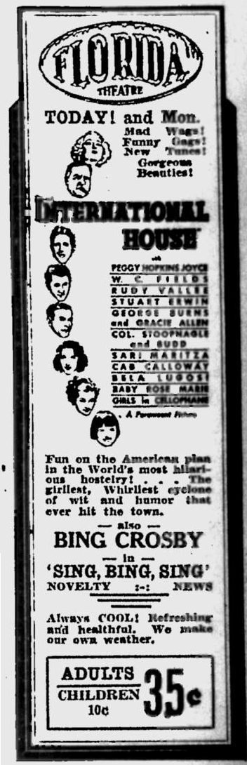 International House, St Petersburgh Times, June 11, 1933
