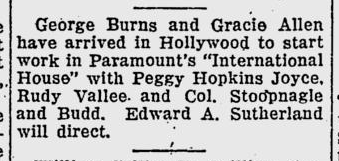 International House, The Evening Independent, February 10, 1933