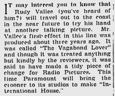 International House, The Milwaukee Sentinel, December 13, 1932
