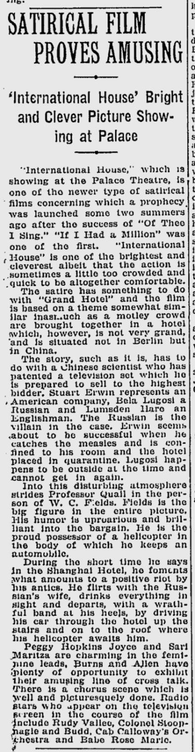 International House, The Montreal Gazette, June 19, 1933 b