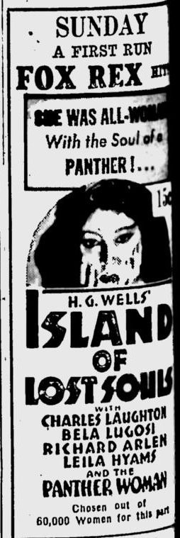 Island Of Lost Souls, Eugene Register-Guard, January 28, 1933