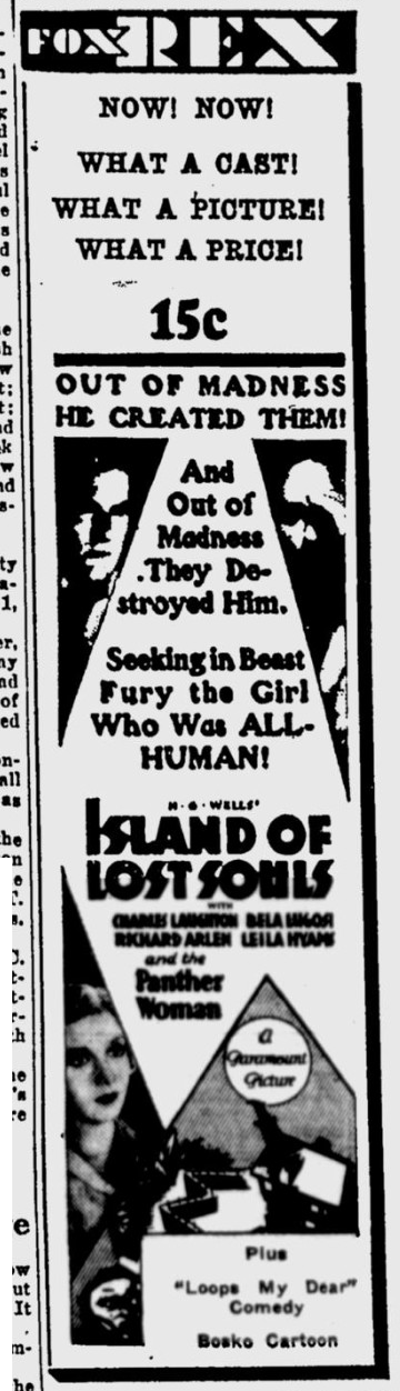 Island Of Lost Souls, Eugene Register-Guard, January 29, 1933