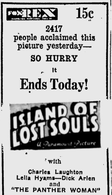 Island Of Lost Souls, Eugene Register-Guard, January 30, 1933 b