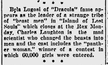 Island Of Lost Souls, Eugene Register-Guard, January 30, 1933