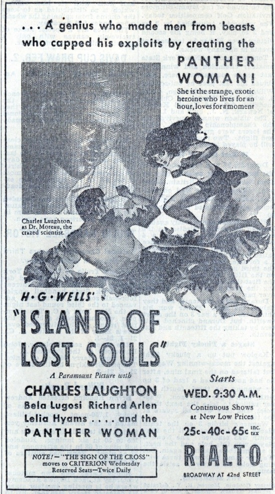 Island of Lost Souls Newspaper Ad 3