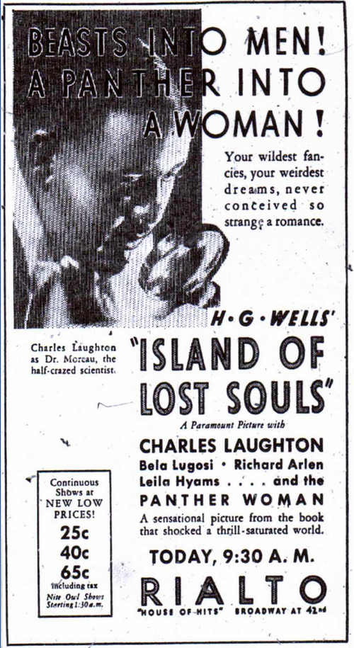 Island of Lost Souls Newspaper Ad a
