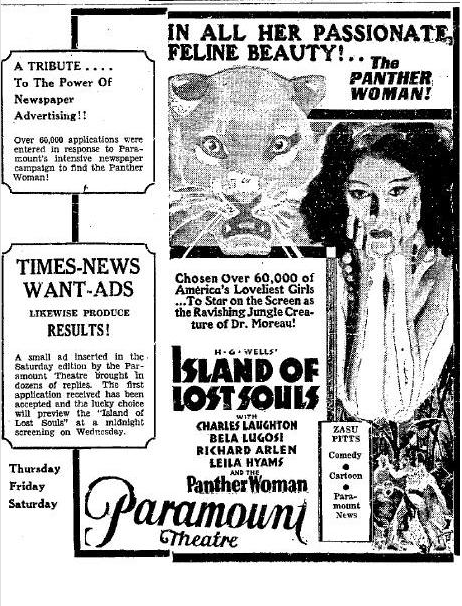 Island of Lost Souls Newspaper Ad e