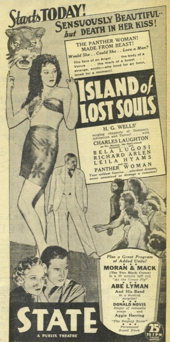 Island of Lost Souls Newspaper Ad g