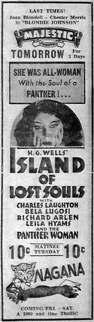 Island of Lost Souls Newspaper Ad j