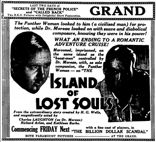 Island of Lost Souls Newspaper Ad