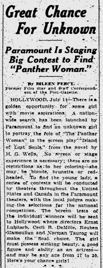 Island Of Lost Souls, Pitsburgh Post-Gazette, July 15, 1932