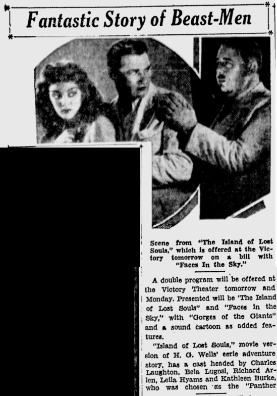 Island Of Lost Souls, San Jose Evening News, April 22, 1933