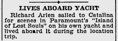 Island Of Lost Souls, Schenectady Gazette, October 29, 1932