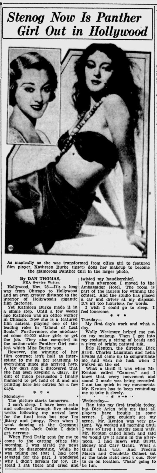 Island Of Lost Souls, Spartanburg Herald, November 29, 1932