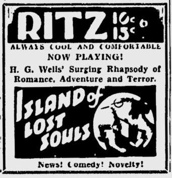 Island Of Lost Souls, Spokane Daily Chronicle, July 13, 1933