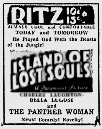 Island Of Lost Souls, Spokane Daily Chronicle, July 14, 1933