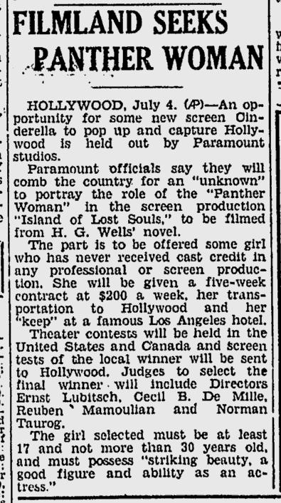 Island Of Lost Souls, Spokane Daily Chronicle, July 4, 1932