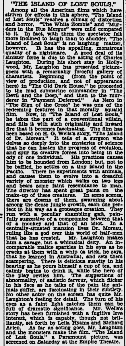 Island Of Lost Souls, Sydney Morning Herald, May 15, 1933
