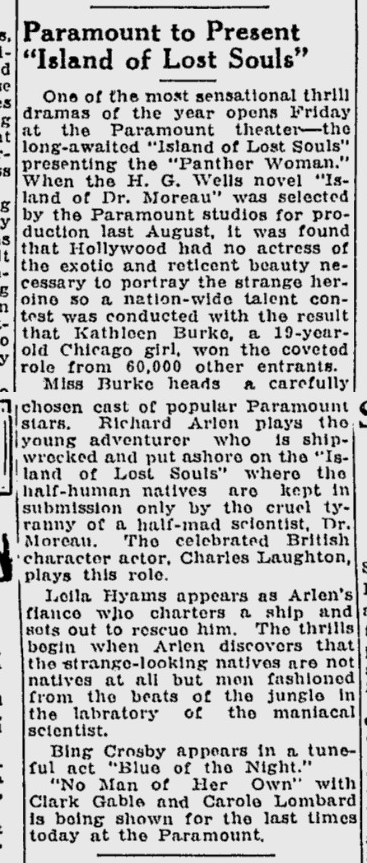 Island Of Lost Souls, The Desert News, January 5, 1933 b